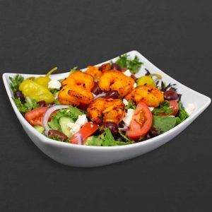 Shrimp on Greek salad