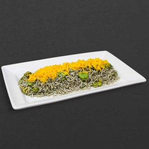Baghali polo or lima bean rice with dill.