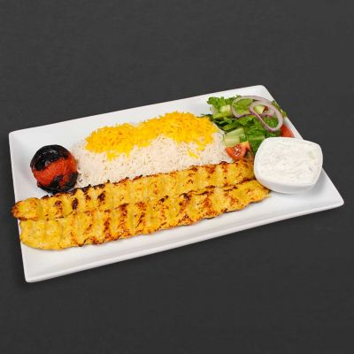 Chicken Koobideh Plate with rice, salad, tomato, and maust o khiar.