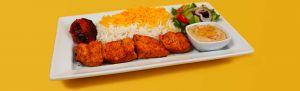 Salmon Kebab Plate. Kebab Bar. Los Angeles