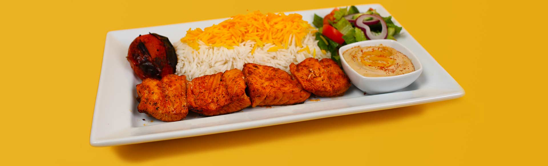 Salmon Kebab Plate. Kebab Bar. Los Angeles
